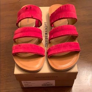 Lucky Brand Helen Oiled Suede Slides. Red